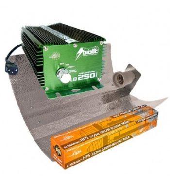 KIT 250W BOLT + REFLECTOR STUCO + PURE LIGHT HPS 250 W GROW-BLOOM MAX