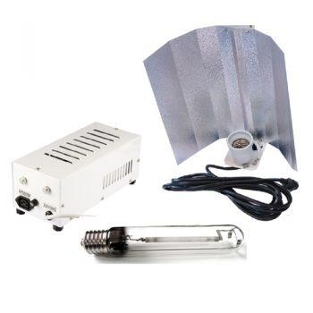 KIT 600W PRO GEAR PLUG & PLAY + REFLECTOR STUCO + PURE LIGHT HPS 600 W GROW-BLOOM MAX
